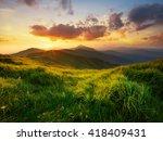mountain valley during sunrise. ... | Shutterstock . vector #418409431