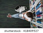female student study in library ... | Shutterstock . vector #418409527