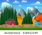 mountain and forest landscape...