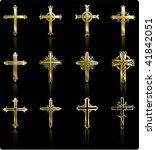 religious gold cross design... | Shutterstock . vector #41842051