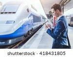 man using mobile application on ... | Shutterstock . vector #418431805