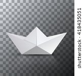 Vector Modern Origami Boat Wit...