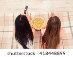 close up photo of two girls... | Shutterstock . vector #418448899