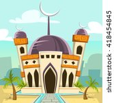 cartoon mosque building at... | Shutterstock .eps vector #418454845