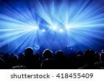 silhouettes of concert crowd in ... | Shutterstock . vector #418455409