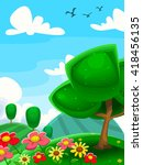 vector cartoon garden with... | Shutterstock .eps vector #418456135