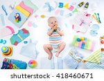 baby on white background with... | Shutterstock . vector #418460671