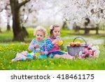 little children eating lunch...   Shutterstock . vector #418461175