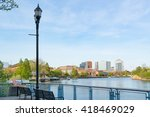 Wilmington Delaware skyline and waterfront along the Christiana River