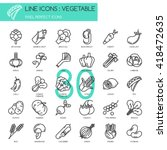 vegetable   thin line icons set ... | Shutterstock .eps vector #418472635
