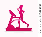 woman running on a treadmill... | Shutterstock .eps vector #418475959