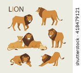 Various Poses Of A Lion Vector...