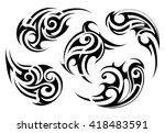 set of maori ethnic style... | Shutterstock .eps vector #418483591