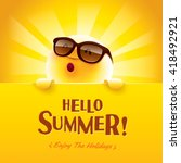 hello summer  enjoy the... | Shutterstock .eps vector #418492921