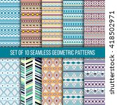 set of 10 seamless geometric... | Shutterstock .eps vector #418502971