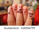 happy finger friends having fun ... | Shutterstock . vector #418506799