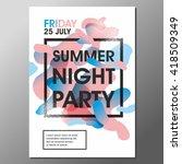 summer night party vector flyer ... | Shutterstock .eps vector #418509349