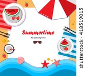 summertime flat lay background. ... | Shutterstock .eps vector #418519015