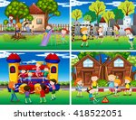 four scenes of children playing ... | Shutterstock .eps vector #418522051