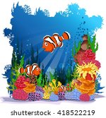 funny clown fish with sea life...   Shutterstock .eps vector #418522219