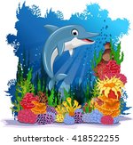 funny dolphin with sea life...   Shutterstock .eps vector #418522255