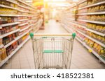 Supermarket Aisle With Empty...