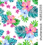 seamless vector tropical design ... | Shutterstock .eps vector #418522555