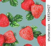 watercolor strawberries... | Shutterstock . vector #418524427