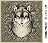 wolf portrait | Shutterstock .eps vector #418541725