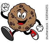 chocolate chip cookie running | Shutterstock .eps vector #418546051