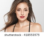 beautiful woman face portrait... | Shutterstock . vector #418553575