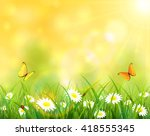 summer background  sunny day... | Shutterstock .eps vector #418555345