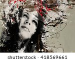 modern teenage girl on grunge... | Shutterstock . vector #418569661