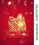happy birthday elegant red card ... | Shutterstock .eps vector #418579795
