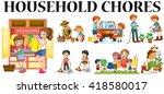 family members doing different... | Shutterstock .eps vector #418580017