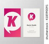 modern letter k in pink speech... | Shutterstock .eps vector #418590091