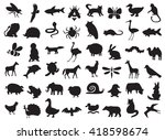 silhouettes of wild and... | Shutterstock .eps vector #418598674