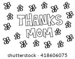 thanks mom flowers coloring page | Shutterstock . vector #418606075