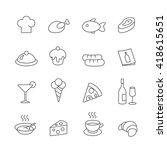 restaurant line icons set.... | Shutterstock . vector #418615651