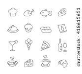 restaurant line icons set.... | Shutterstock . vector #418615651