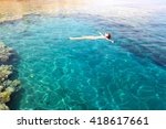 young woman floating on the... | Shutterstock . vector #418617661