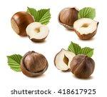 hazelnut nut leaf set selection ... | Shutterstock . vector #418617925