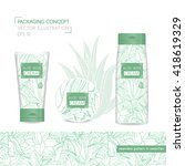 packaging concept with aloe... | Shutterstock .eps vector #418619329
