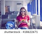 young female passenger on smart ... | Shutterstock . vector #418622671