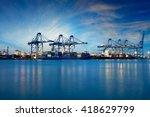 container cargo freight ship...   Shutterstock . vector #418629799