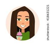 happy birthday card. sweet girl ...   Shutterstock .eps vector #418631221