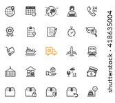 shipping and logistics icons... | Shutterstock .eps vector #418635004