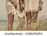 close up of women s legs in... | Shutterstock . vector #418635694
