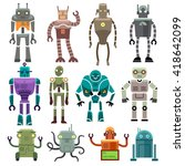 cute vintage vector robot icons ... | Shutterstock .eps vector #418642099