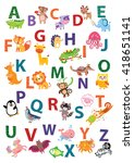 cute animal alphabet. english... | Shutterstock .eps vector #418651141